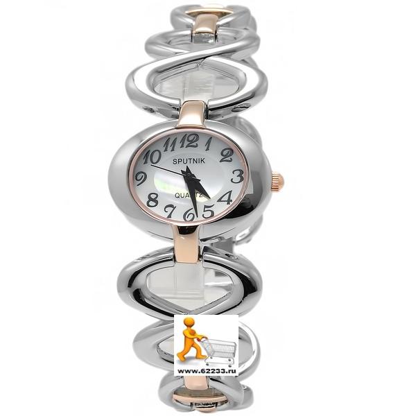 a4909fec96ad Часы наручные женские СПУТНИК Л-882430 золот. (кварцевые, Alloy, 30м, water  resist, water proof, браслет)