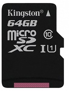 Карта памяти  64Gb microSDXC KINGSTON SDCS/64GBSP Class 10
